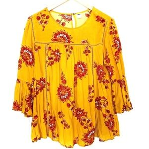 Old Navy Gold & Red Floral Blouse